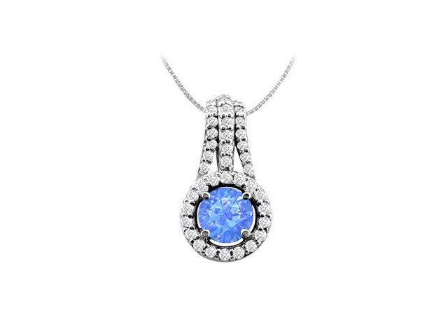 14K White Gold Diffuse Sapphire Pendant with Cubic Zirconia 2.50 Carat TGW