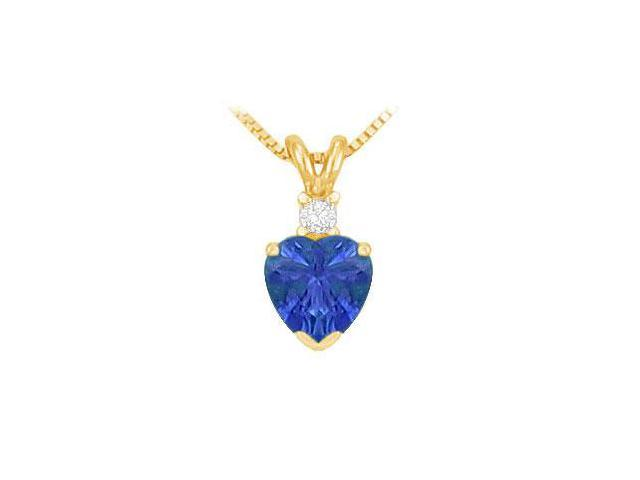 Diamond and Sapphire Solitaire Pendant  14K Yellow Gold - 1.00 CT TGW