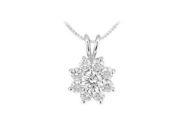 Diamond Flower Pendant  14K White Gold - 0.75 CT Diamonds