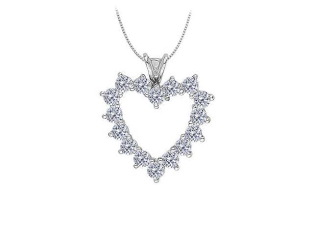 April birthstone Cubic Zirconia Heart Pendant in Sterling Silver 2.50 CT TGW