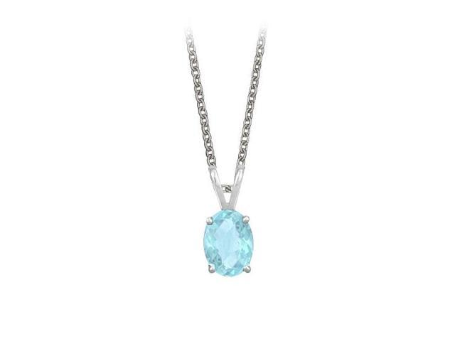 Oval Shaped Created Aquamarine Pendant Necklace in Sterling Silver. 1ct.tw.