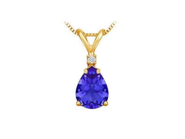 Diamond and Sapphire Solitaire Pendant  14K Yellow Gold - 1.00 CT TGW