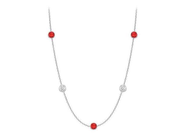 Diamonds By The Yard GF Bangkok Ruby and CZ Necklace on 14K White Gold Bezel Set 10.00 ct.tw
