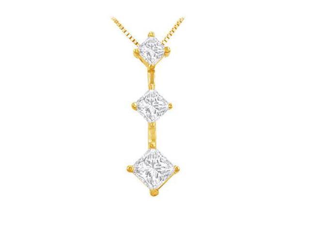 Princess Diamond Pendant  14K Yellow Gold - 1.00 CT Diamonds