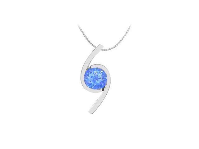 Created Sapphire Brilliant Cut Pendant in 14K White Gold 2.00 Carat TGW