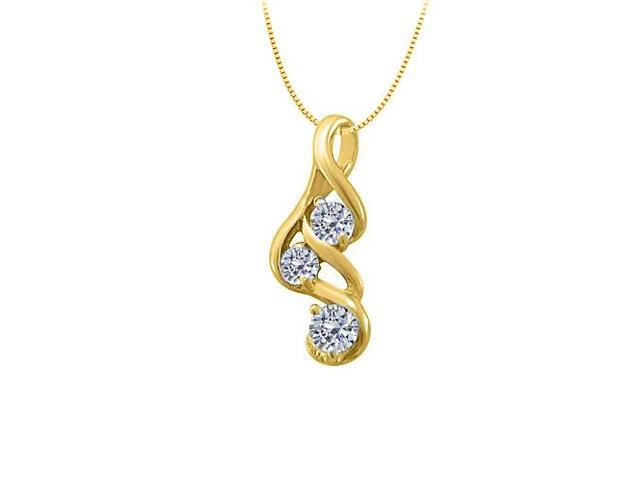 Three Stone Cubic Zirconia Pendant in Yellow Gold Vermeil over Sterling Silver 0.33 CT TGW