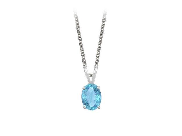 Oval Shaped Created Blue Topaz Pendant Necklace in Sterling Silver. 1ct.tw.