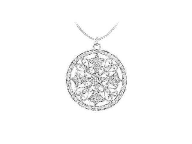 Diamond Circle Pendant  14K White Gold - 0.50 CT Diamonds