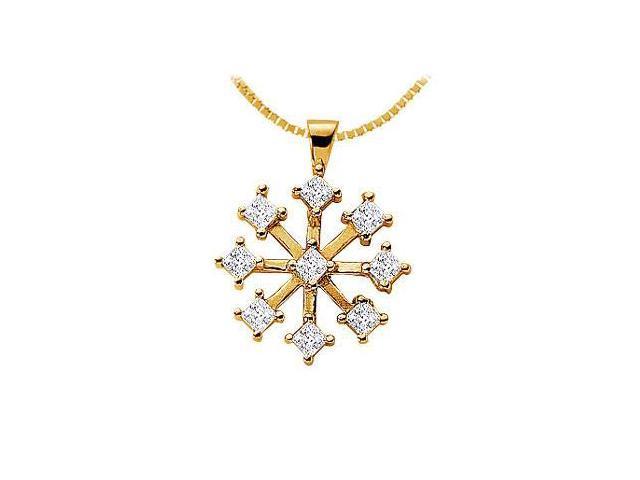 Diamond Flower Pendant  14K Yellow Gold - 1.00 CT Diamonds