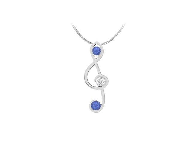 Musical  Note Pendant in 14K White Gold with Diamond and Natural Sapphire 0.25 Carat TGW