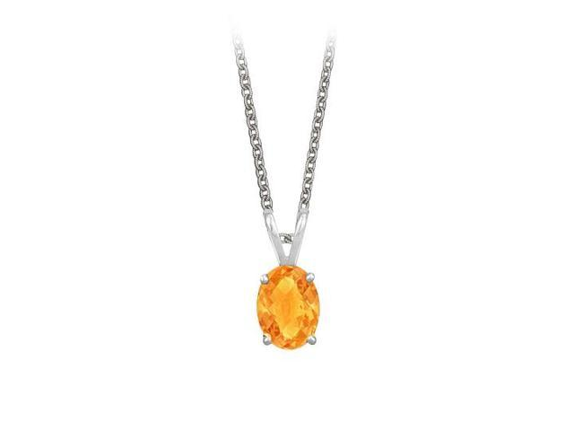 Oval Shaped Citrine Pendant Necklace in Sterling Silver. 1ct.tw.