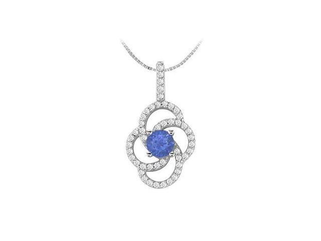 Diamond and Natural Sapphire Flower Style Pendant in 14K White Gold 1.00 Carat TGW