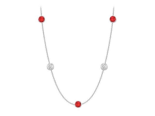 Diamonds By The Yard GF Bangkok Ruby and CZ Necklace on 14K White Gold Bezel Set 20.00 ct.tw