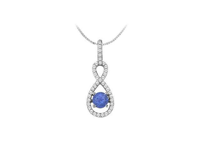 Brilliant Cut Diamond with Half Carat Natural Sapphire Pendant in 14K White Gold 1.00 Carat TGW