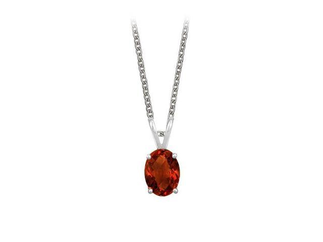 Oval Shaped Garnet Pendant Necklace in Sterling Silver. 1ct.tw.