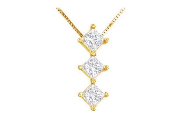 Princess Diamond Pendant  14K Yellow Gold - 0.50 CT Diamonds