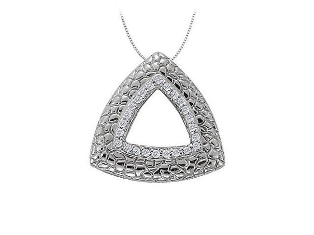 Cubic Zirconia Triangle Shaped Fashion Pendant in 14K White Gold 0.25 CT TGWJewelry Gift