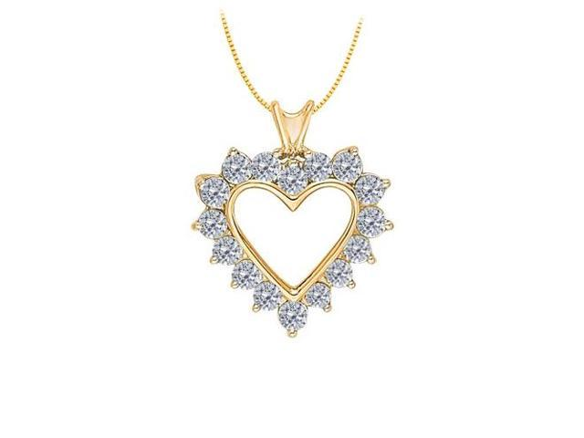 April birthstone CZ Heart Pendant in Sterling Silver with Yellow Gold Vermeil 1.75 CT TGW