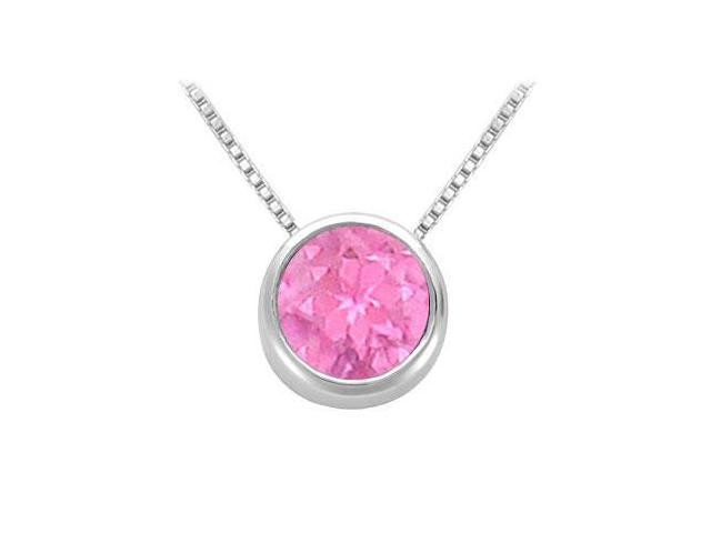 Created Pink Sapphire Bezel-Set Solitaire Pendant  .925 Sterling Silver - 1.00 CT TGW