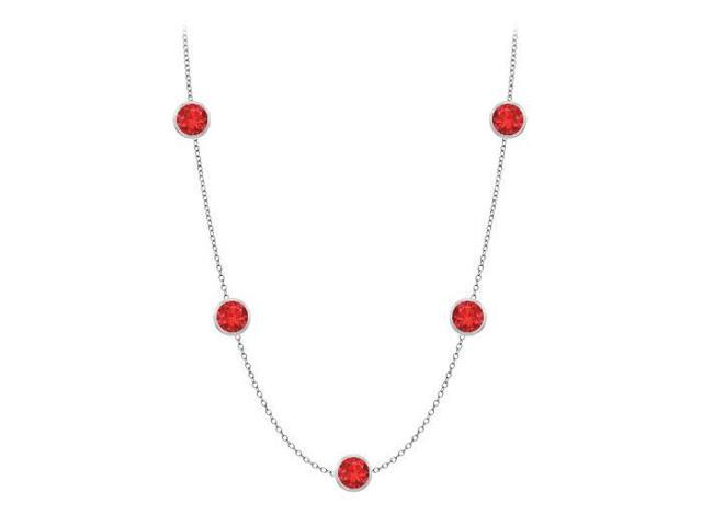 Diamonds By The Yard GF Bangkok Ruby Necklace on 14K White Gold Bezel Set 25.00 ct.tw