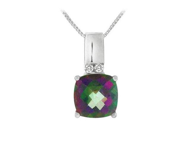 Mystic Topaz and Diamond Pendant  14K White Gold - 3.50 CT TGW