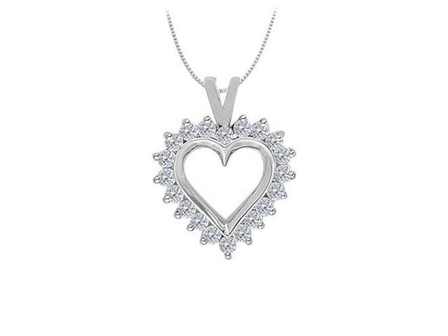 April birthstone Cubic Zirconia Heart Pendant in Sterling Silver 0.75 CT TGW