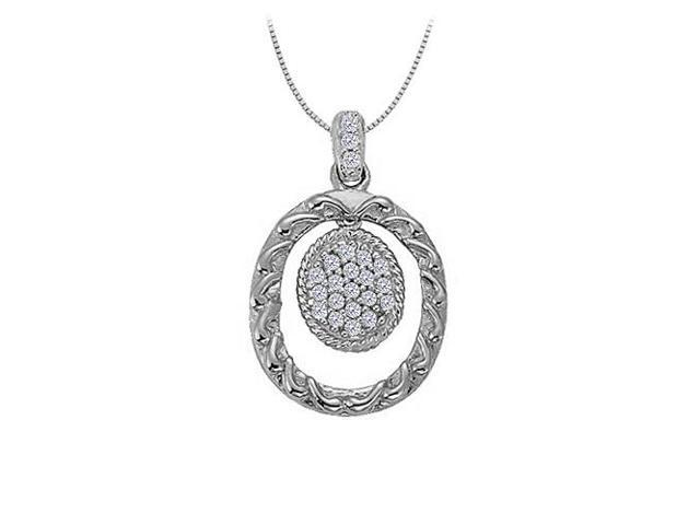 Cubic Zirconia Oval Fashion Pendant in 14K White Gold 0.10 CT TGWPerfect Jewelry Gift for Women
