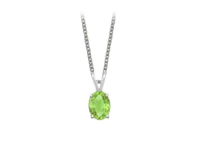 Oval Shaped Peridot Pendant Necklace in Sterling Silver. 1ct.tw.