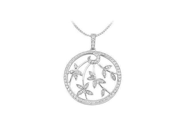 Diamond Circle Pendant  14K White Gold - 0.55 CT Diamonds