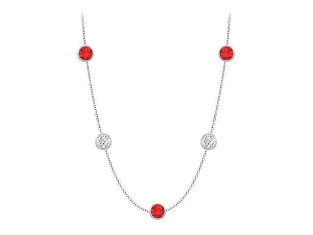 Diamonds By The Yard GF Bangkok Ruby and CZ Necklace on 14K White Gold Bezel Set 25.00 ct.tw