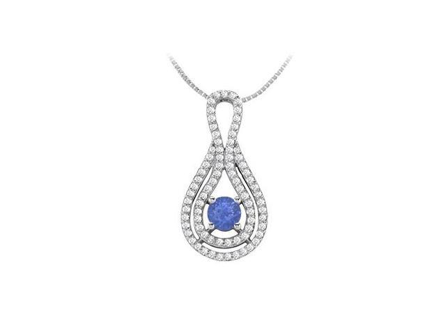14K White Gold Diamond and Natural Sapphire Pendant with 1.25 Carat TGW
