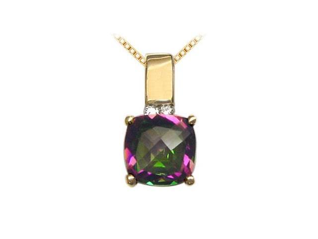 Mystic Topaz and Diamond Pendant  14K Yellow Gold - 3.50 CT TGW