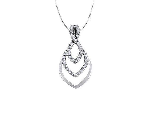 Cubic Zirconia Fashion Pendant in 14K White Gold 0.25 CT TGWAwesome Jewelry Gift for Women