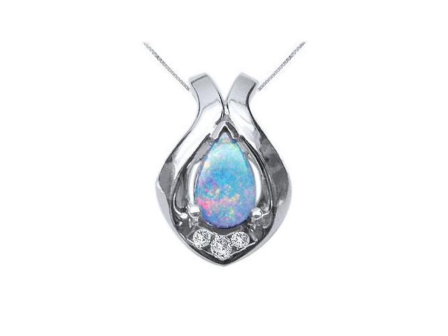 Opal and Diamond Pendant  14K White Gold