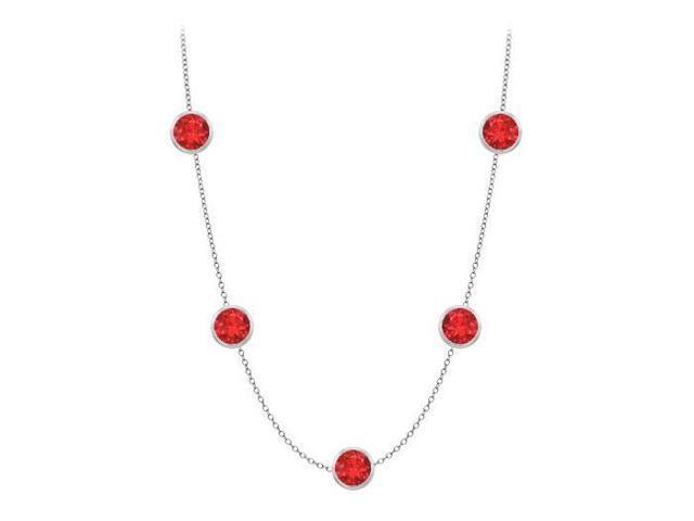 Diamonds By The Yard GF Bangkok Ruby Necklace on 14K White Gold Bezel Set 35.00 ct.tw