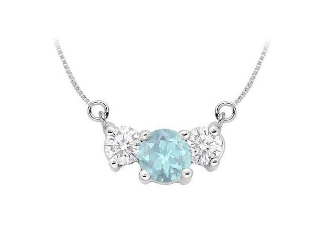 Created Aquamarine and Cubic Zirconia Pendant  .925 Sterling Silver - 1.50 CT TGW