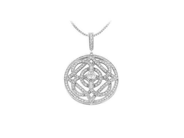 Diamond Circle Pendant  14K White Gold - 1.00 CT Diamonds