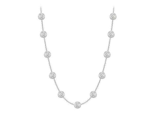 Diamonds By The Yard Necklace in 18K White Gold Bezel Set 1ct.tw