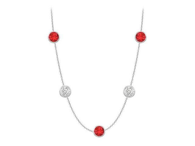 Diamonds By The Yard GF Bangkok Ruby and CZ Necklace on 14K White Gold Bezel Set 35.00 ct.tw
