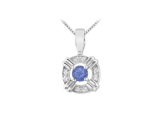 Sapphire and Diamond Circle Pendant  14K White Gold - 0.25 CT TGW