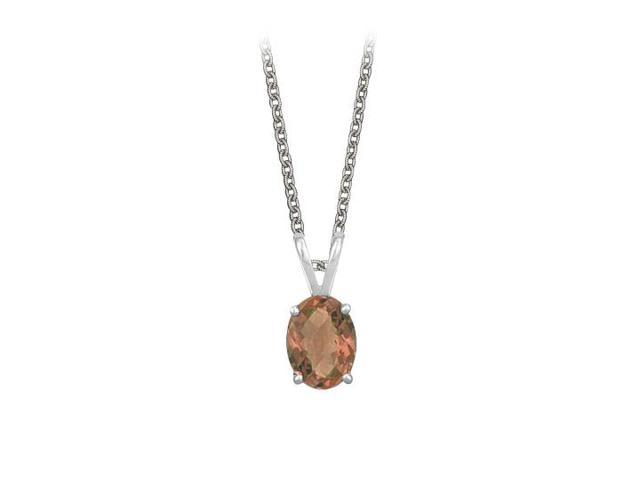 Oval Shaped Smoky Quartz Pendant Necklace in Sterling Silver. 1ct.tw.