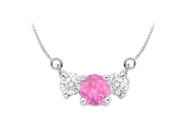 Created Pink Sapphire and Cubic Zirconia Pendant  .925 Sterling Silver - 1.50 CT TGW