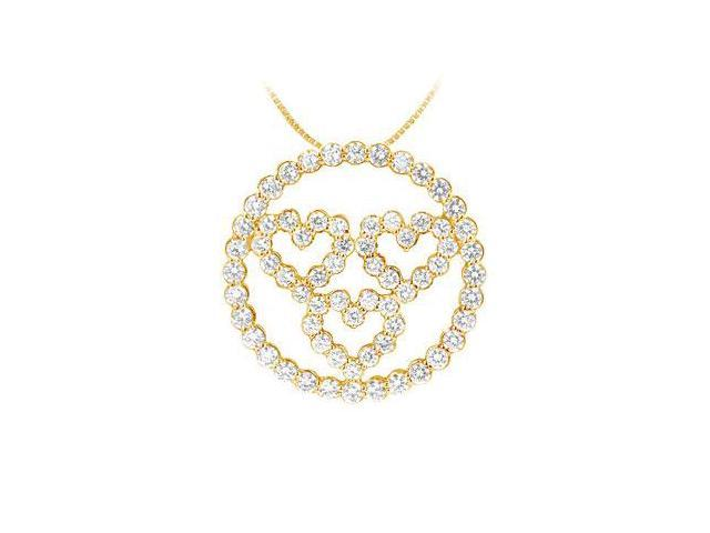 Diamond Circle and Heart Pendant  14K Yellow Gold - 1.25 CT Diamonds