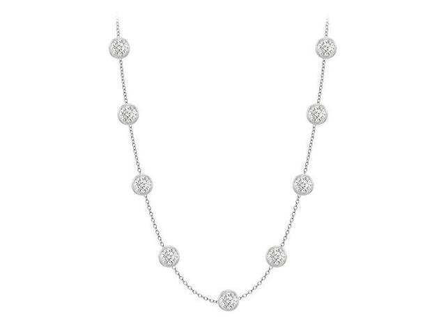 Diamonds By The Yard Necklace in 14K White Gold Bezel Set 1.50 ct.tw