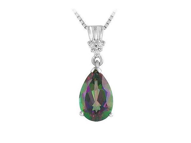 Mystic Topaz and Diamond Pendant  14K White Gold - 2.00 CT TGW