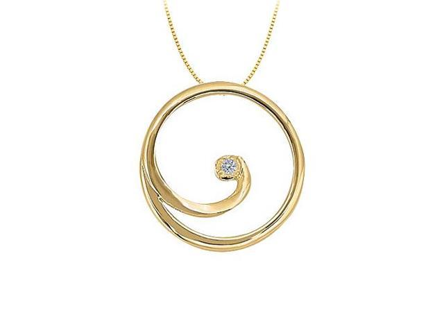 CZ Circle Pendant in Gold Vermeil over Sterling Silver 0.02 CT TGW with Vermeil Chain