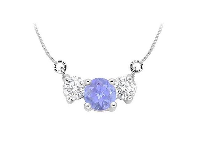 Created Tanzanite and Cubic Zirconia Pendant  .925 Sterling Silver - 1.50 CT TGW