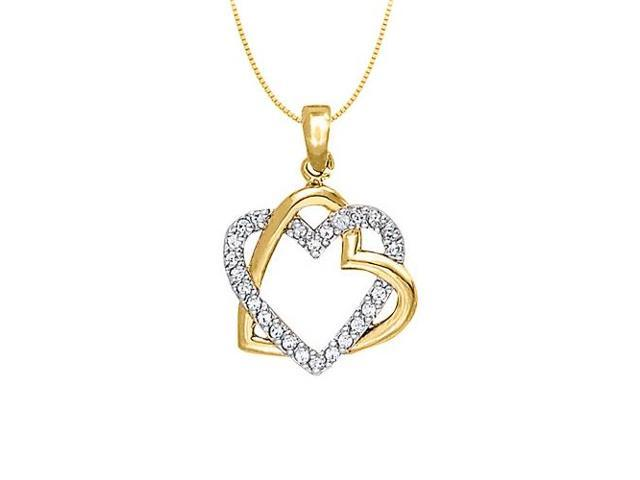 April birthstone CZ Two Tone Heart Pendant Sterling Silver with Yellow Gold Vermeil 0.25 CT TGW
