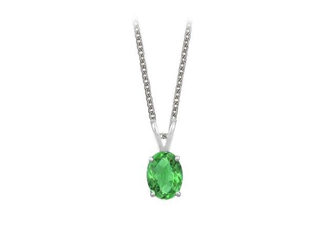 Oval Shaped Created Emerald Pendant Necklace in Sterling Silver. 1ct.tw.