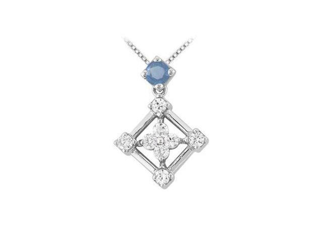 Sapphire and Diamond Pendant  14K White Gold - 1.00 CT TGW